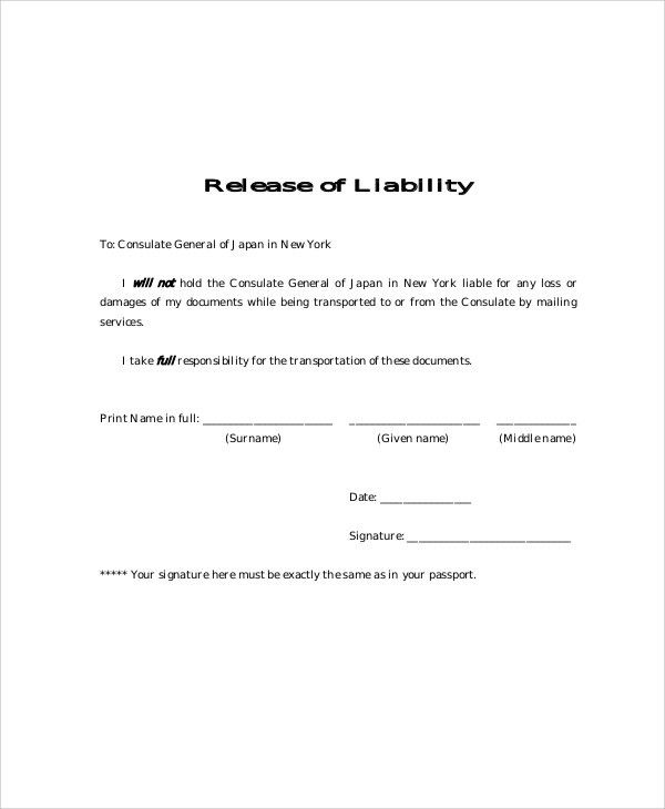 General Release Forms. General Liability Release Of Claims Form ...