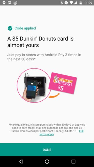 Deal Alert] Get $5 Dunkin' Donuts gift card when you use Android ...