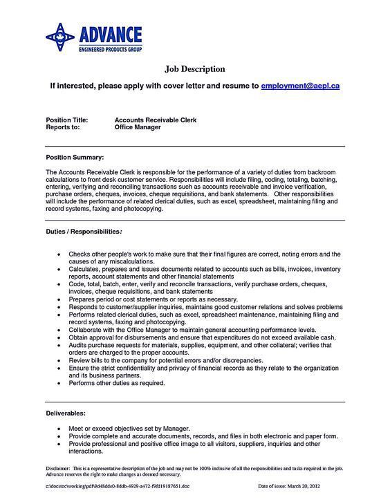 Accounts receivable resume presents both skills and also the ...