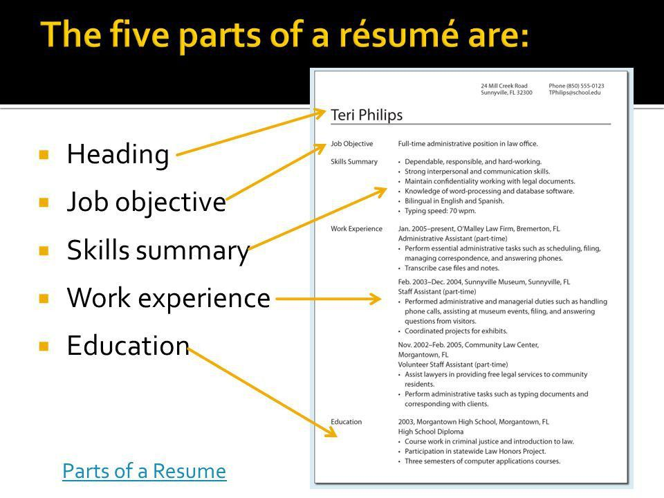 Peachy Parts Of A Resume 15 Parts - Resume Example