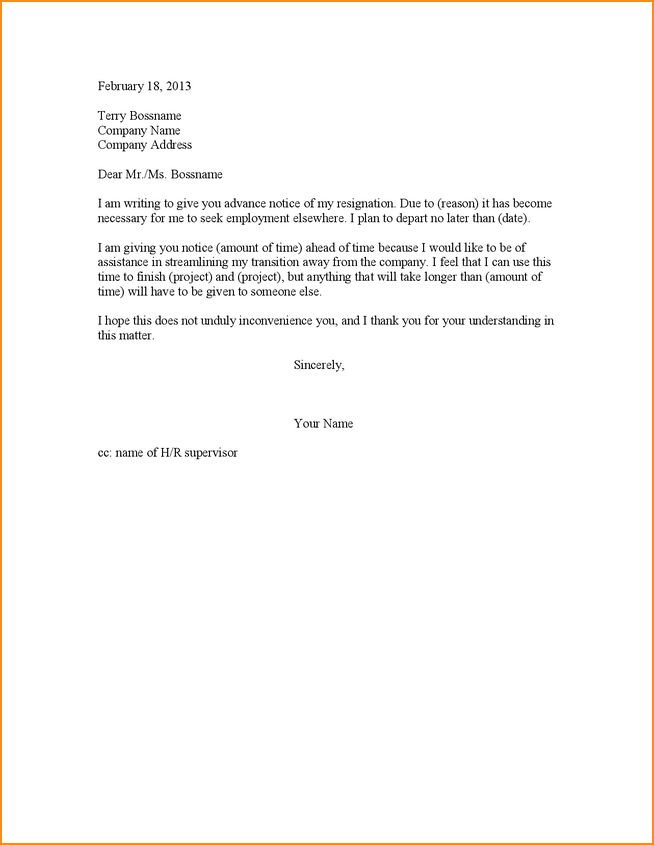 7+ 1 weeks notice resignation letter - Basic Job Appication Letter
