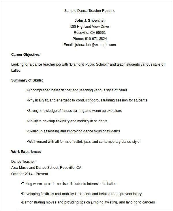dance teacher resume sample dance teacher resume dancing job