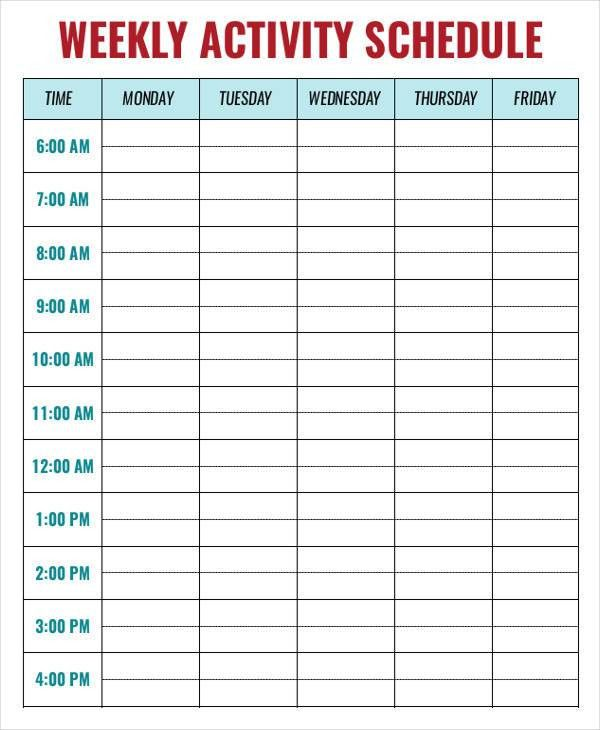 Weekly Activity Schedule Templates - 6+ Free Sample, Example ...