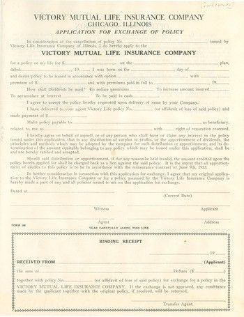 Victory Mutual Life Insurance Company application for exchange of ...
