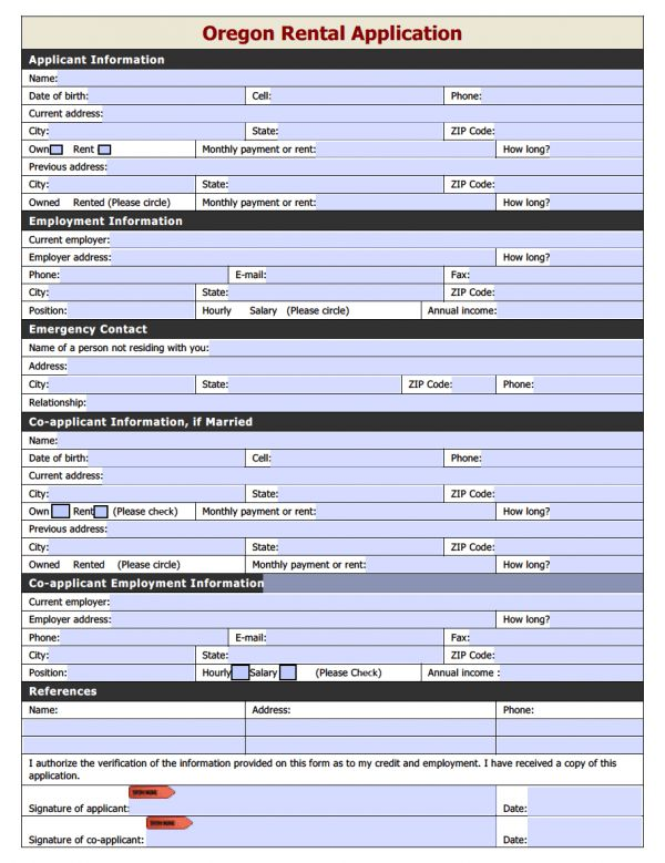 Free Oregon Rental Application | PDF | Word (.doc)