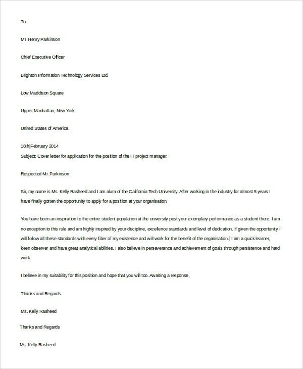 Resume Cover Letter Example - 9+ Samples in Word, PDF