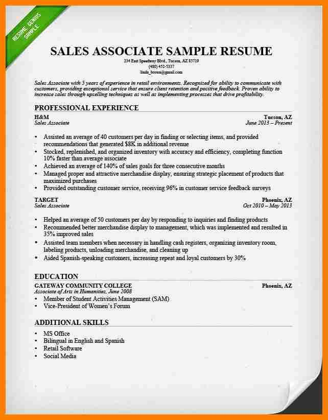 free resume templates sales associate resume sales associate ...
