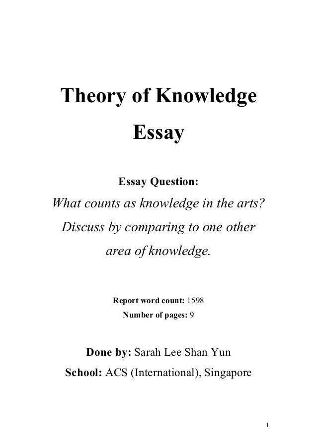 tok essay example tok essay grade a level student oxbridge tok theory of knowledge essay what counts as knowledge in the arts