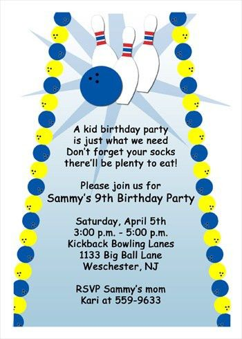 Bowling Party Invitation Wording | cimvitation