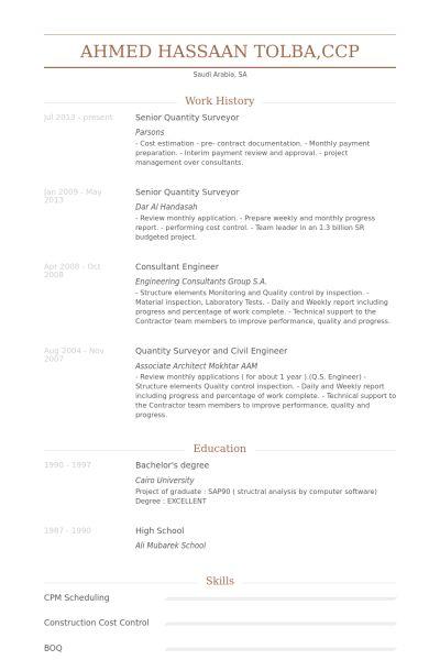 Métreur Exemple de CV - Base de données des CV de VisualCV