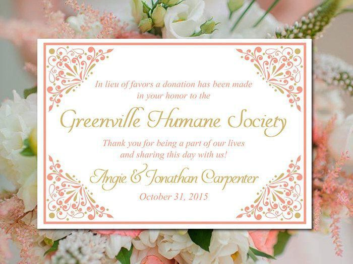 Wedding Favor Donation Card Template - Coral Gold Wedding Charity ...
