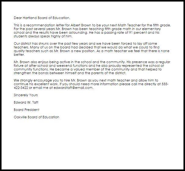 Math Teacher Recommendation Letter | LiveCareer
