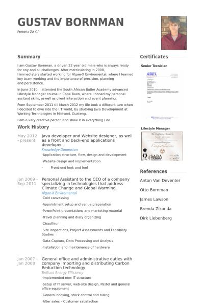 Java Developer Resume samples - VisualCV resume samples database