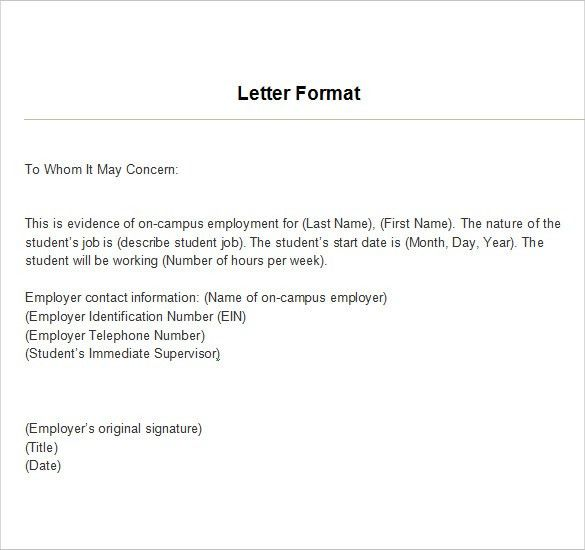 Employment Verification Letter Template Example For Excel PDF And ...