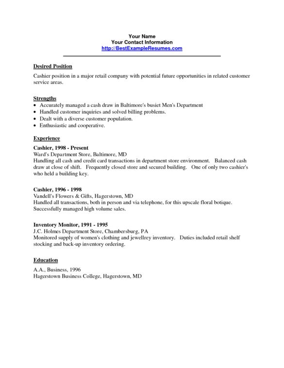 Easy and Simple Cashier Resume Sample Template with Strength and ...
