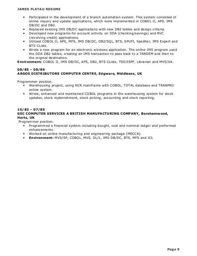 mainframe resume bill schuck mainframe programmer 2013 resume