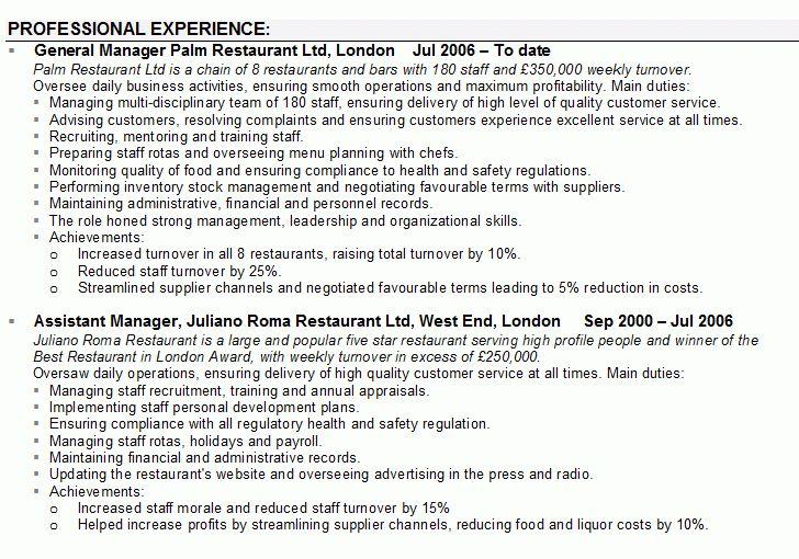 Sample CV for Restaurant Managers