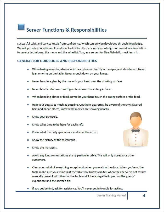 Server Training Manual Template