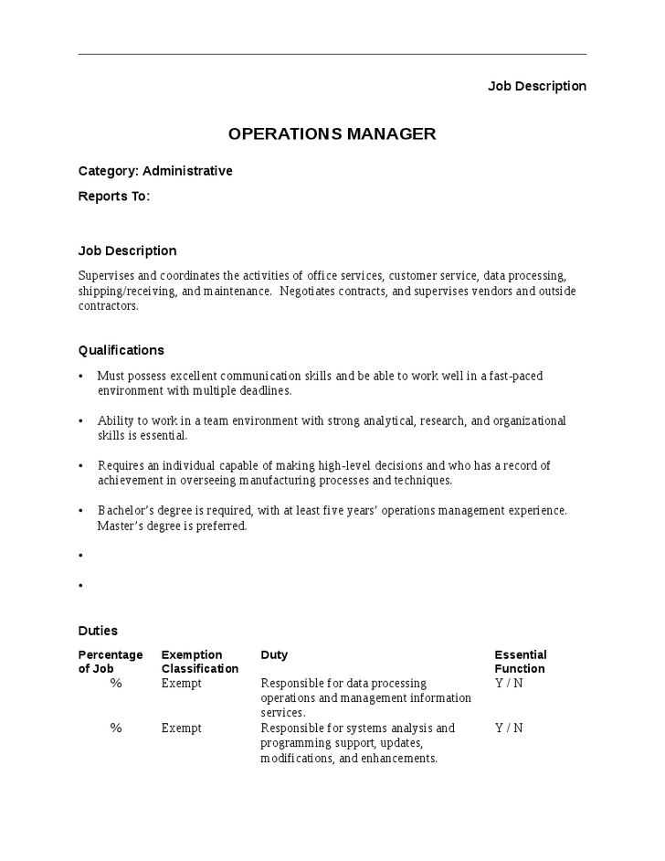 Operations Manager Job Description - Hashdoc