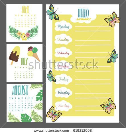 Summer Weekly Daily Planner Template Organizer Stock Vector ...