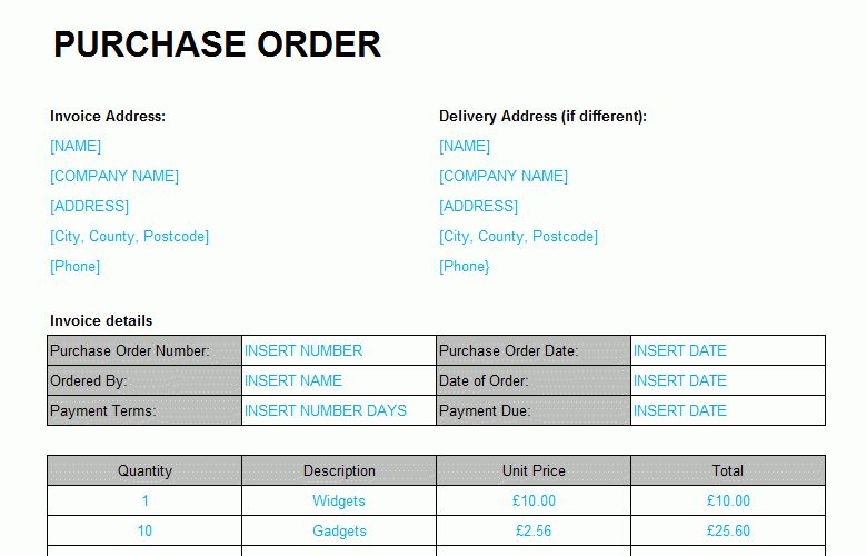 Purchase Order Template - Excel Format - Bizorb