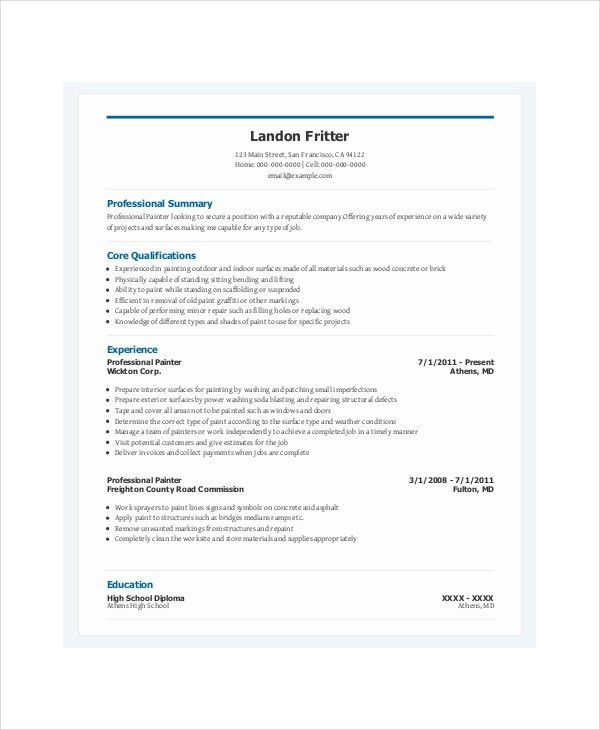 Projects Ideas Painter Resume 14 Resume For Aircraft Painting ...