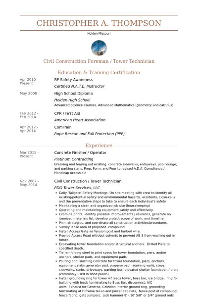 Concrete Finisher Resume samples - VisualCV resume samples database