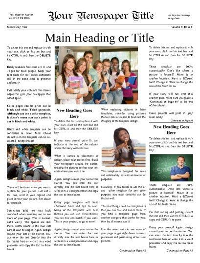 Newspaper Templates for Students