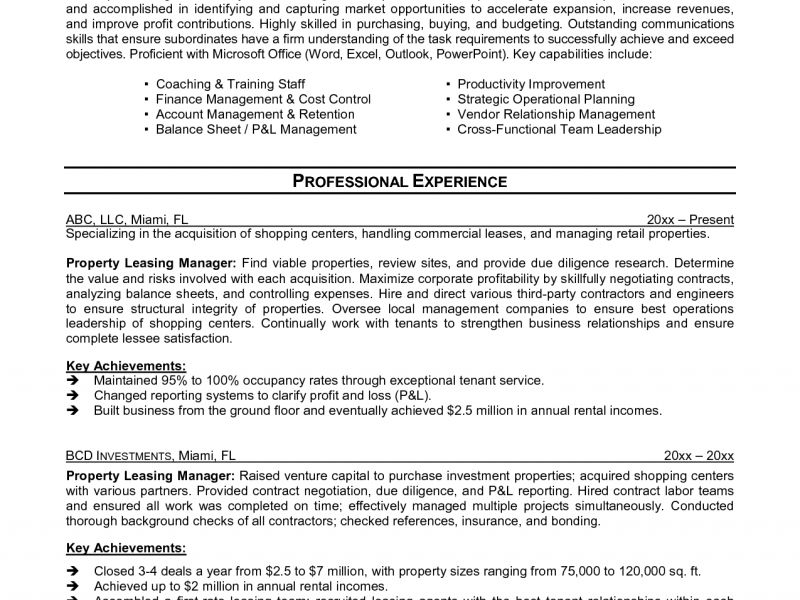 Pretentious Leasing Agent Resume 3 Leasing Manager Resume Ahoy ...