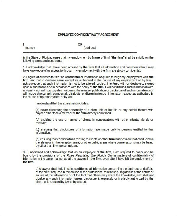 Sample Legal Confidentiality Agreement 12 Client Confidentiality