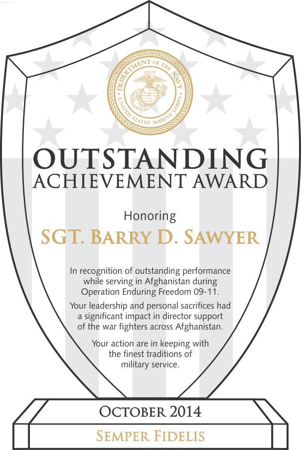Marine Corps Outstanding Performance Award (#309-2) | Wording ...