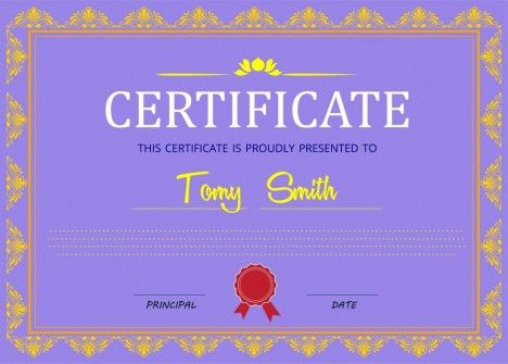 Certificate design with classical border in violet background ...