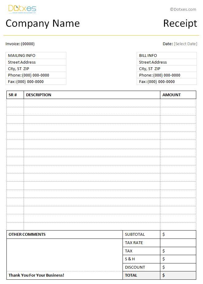 Simple Receipt Template (Word Format) - Dotxes