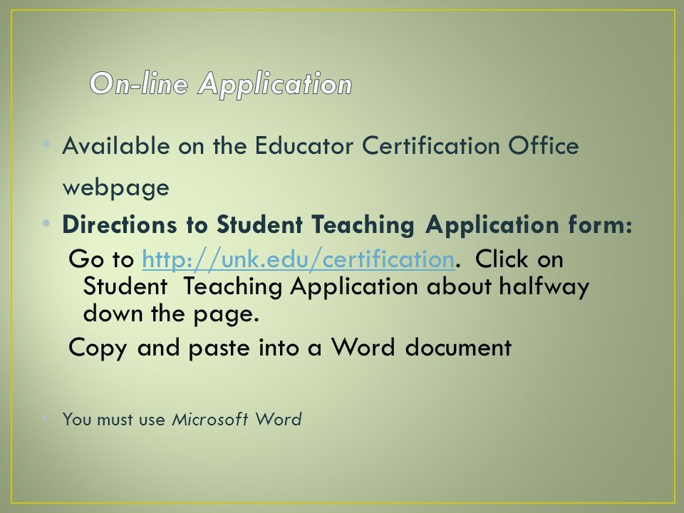 Applying for Student Teaching Spring ppt download