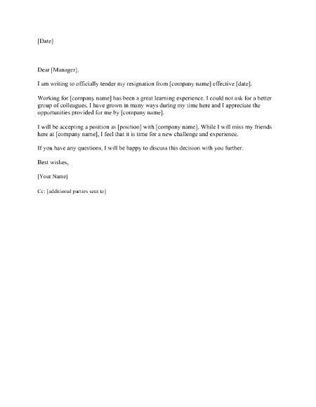weeks notice two 2 week notice letter sample resignation letter 2 ...