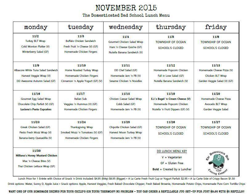 school lunch menu calendar template