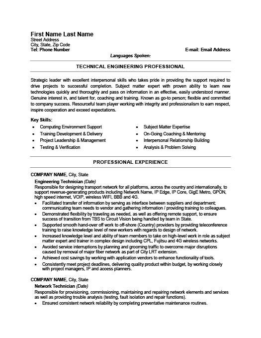Smartness Inspiration Technician Resume 9 Free Electronic ...