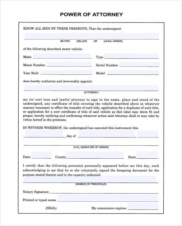 Sample Blank Power of Attorney Form - 10+ Download Free Documents ...