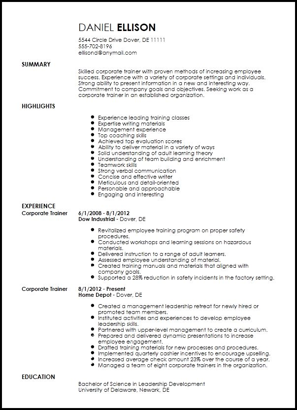 Free Traditional Corporate Trainer Resume Template | ResumeNow