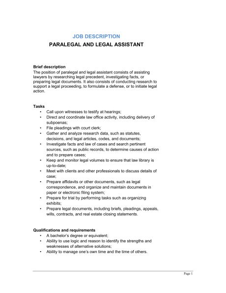 Paralegal and Legal Assistant Job Description - Template & Sample ...
