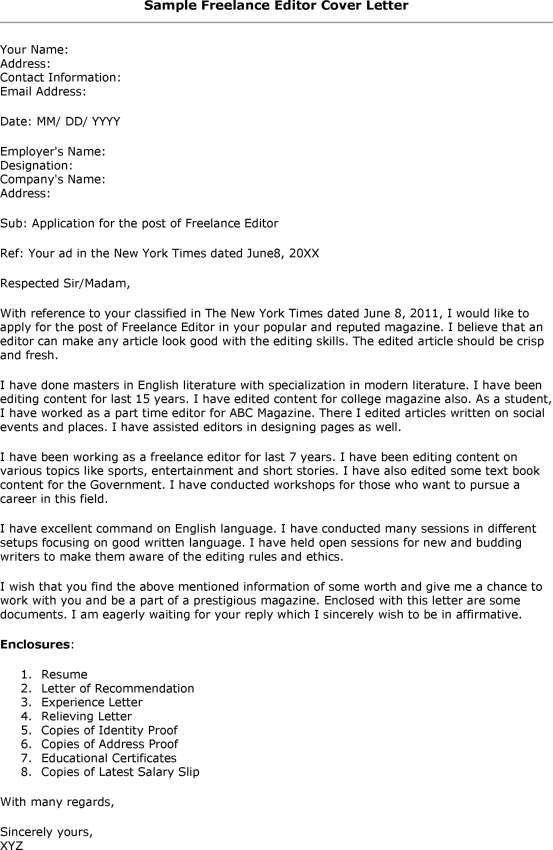 Cover Letter Editor | Sample Resumes