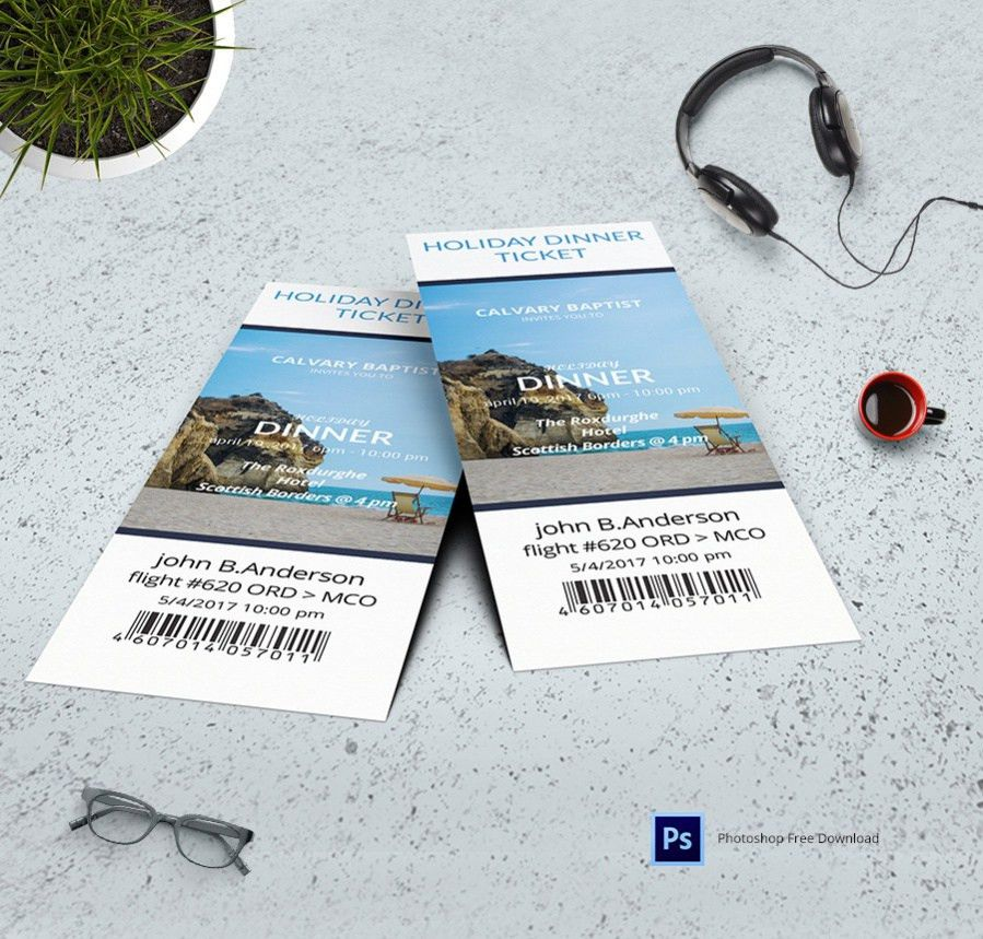 Free Ticket Designs (Event, Holiday, Travel) - 10+ PSD's Download
