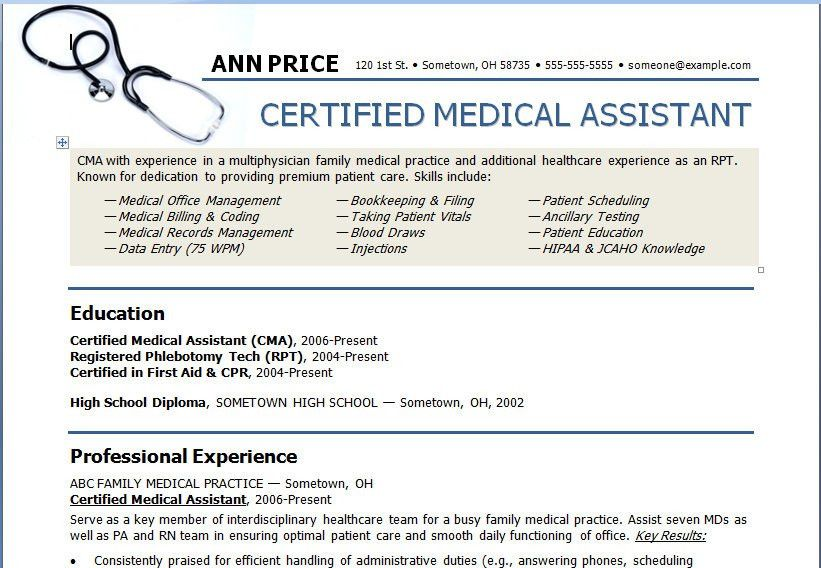 Resume Examples. Medical Assistant Resume Template Microsoft Word ...