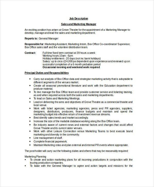 11+ Sales Manager Job Description - Free Sample, Example, Format ...