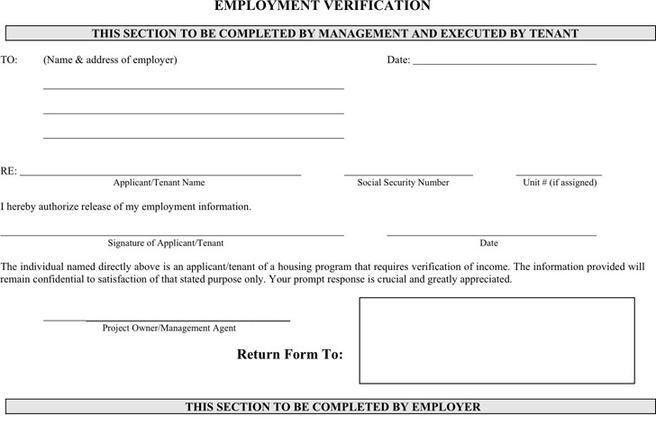 Verification Of Employment Form. Employment Verification Form For ...