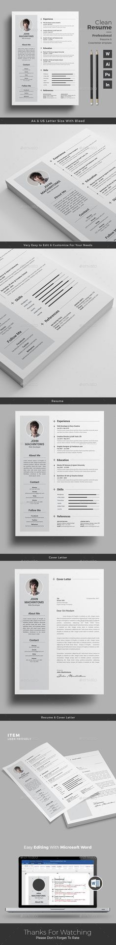 Clean Resume Template | Business cards, Cv template and Resume cv