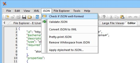 JSON editor text mode