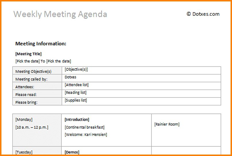 8+ weekly agenda template | Letter Template Word
