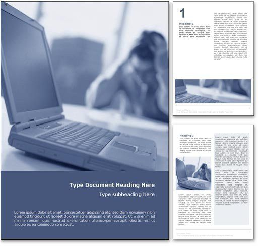 Royalty Free Computer Crash Microsoft Word Template In Blue