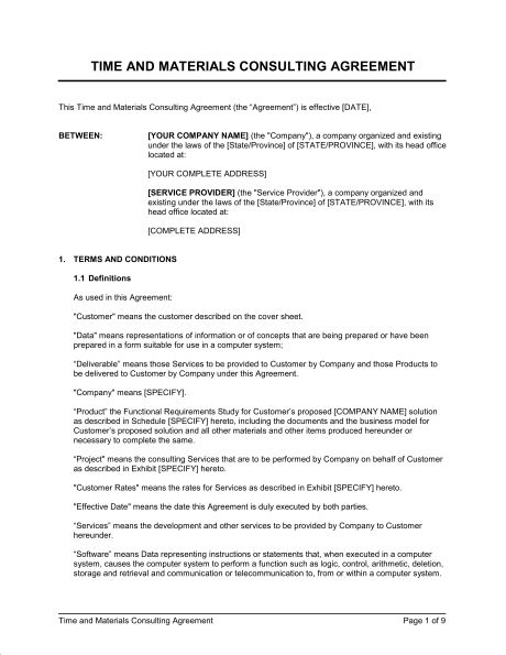 Time and Materials Consulting Agreement - Template & Sample Form ...